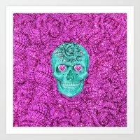Girly Sugar Skull Pink Heart Glitter Purple Flower Art Print