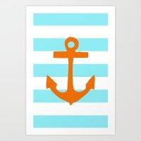 Orange Nautical Stripe Art Print