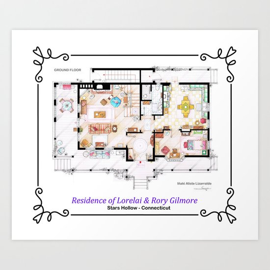 House Of Lorelai Rory Gilmore Ground Floor Art Print
