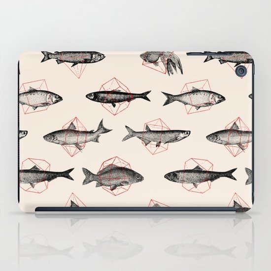 Fishes In Geometrics (Red) iPad Case