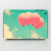 Balloons in the sky (pink ballons in retro blue sky) iPad Case