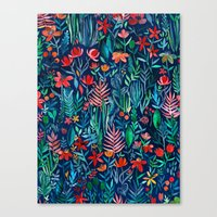 Tropical Ink - a watercolor garden Canvas Print