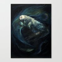 Polar Bear Swimming In N… Canvas Print
