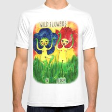 wild flowers in bloom White SMALL Mens Fitted Tee