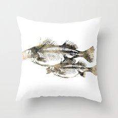 Fish print skeleton Throw Pillow