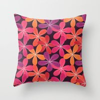 Hippie Orange and pink flowers  Throw Pillow