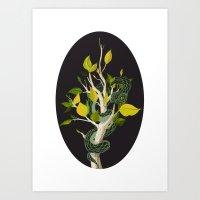 Snake - Green Art Print