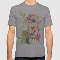 Floral Spree Mens Fitted Tee Athletic Grey SMALL