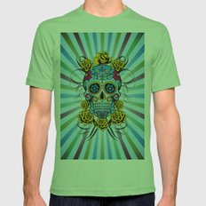 Sugar skull- Day of the dead- blue Mens Fitted Tee Grass SMALL