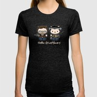Hello Ghostfacers Womens Fitted Tee Tri-Black SMALL