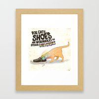 For Cats, Shoes are Wormholes to Other Universes Framed Art Print