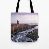 Lynmouth Harbour at dawn twilight. Devon, UK. Tote Bag