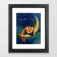 Red Panda Moon Framed Art Print