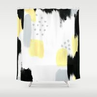 Yellow Abstract Painting Shower Curtain