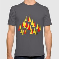 Flaming Skateboard Mens Fitted Tee Asphalt SMALL