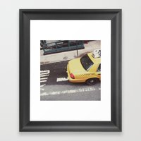 one way taxi:: nyc Framed Art Print