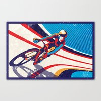 retro track cycling poster print G Force Canvas Print
