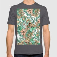 Coral Green Watercolor H… Mens Fitted Tee Asphalt SMALL