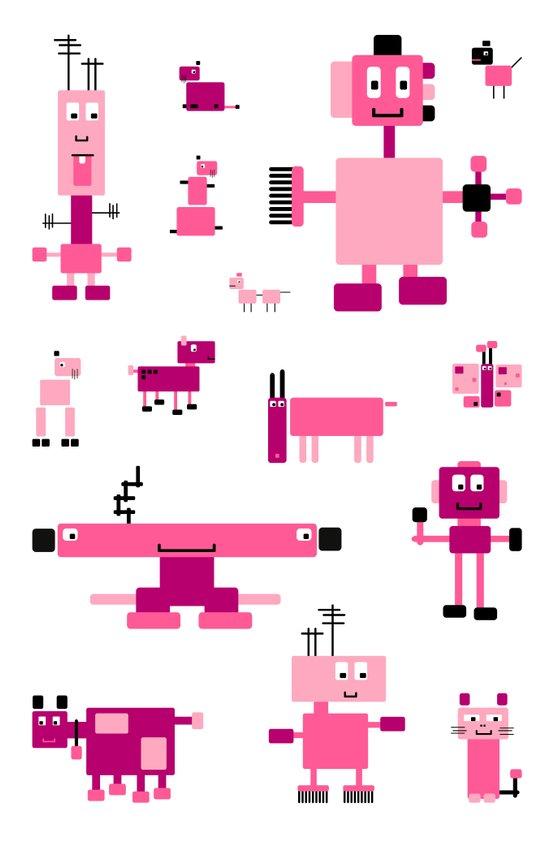 Robots-Pink Art Print