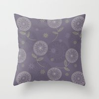 Folky Lace Flowers Throw Pillow