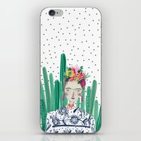 Frida Kahlo. Art, print, illustration, flowers, floral, character, design, famous, people, iPhone & iPod Skin