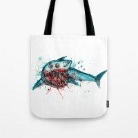 Shark Skeleton Watercolor/Pen&Ink Tote Bag