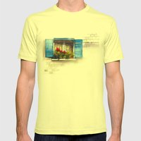 Red Geraniums Mens Fitted Tee Lemon SMALL