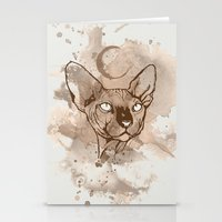 Watercolor Sphynx (Sepia/Coffee stain) Stationery Cards