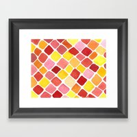 Strawberry Grid Framed Art Print