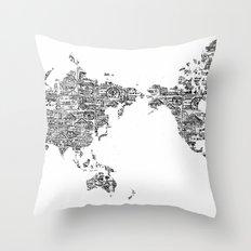 Passport Stamp Map 1 Throw Pillow