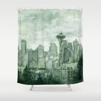 Seattle Skyline Watercolor Space Needle Green Painting  Shower Curtain