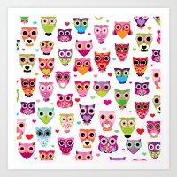 Cute colorful retro style owl illustration pattern Art Print