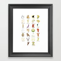 Foodie Alphabet Framed Art Print