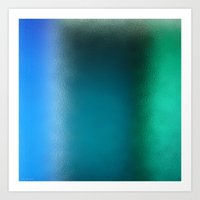 Abstract Square - Blue G… Art Print