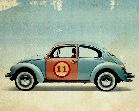 number 11 - VW beetle Art Print