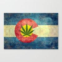 Retro Colorado State flag with the leaf - Marijuana leaf that is! Canvas Print