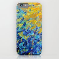 AQUATIC MELODY - Lovely Bright Abstract Ocean Waves Acrylic Painting Colorful Rainbow Beach Gift Art iPhone 6 Slim Case