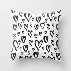 Inky Dinky Hearts Throw Pillow