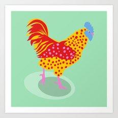 Green Chicken Art Print