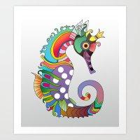 horse Art Prints featuring horse  by mark ashkenazi