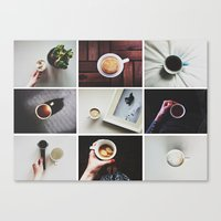 Canvas Print featuring Morning stories - COFFEE set by Lucia Jesenská