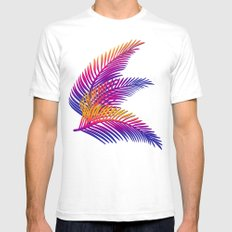 Neon Leaves Mens Fitted Tee White SMALL