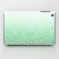 Gradient green and white swirls doodles iPad Case