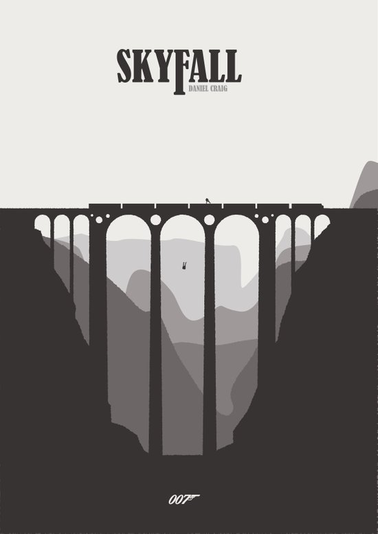 Skyfall minimal poster art print by mads hindhede for Minimal art by daniel marzona