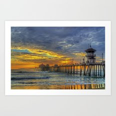 Colorful Huntington Beach Sunset Art Print