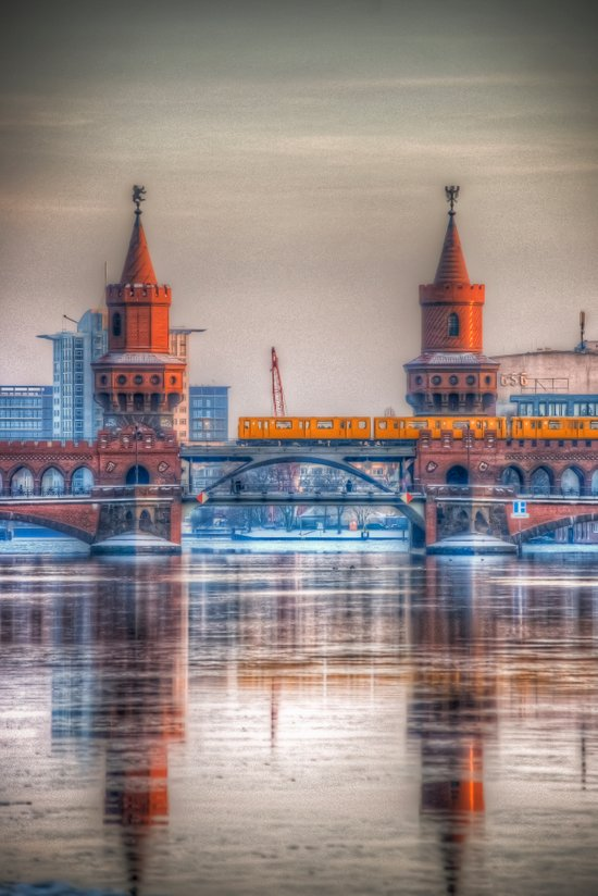 Frozen bridge Berlin Art Print