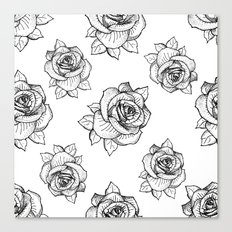 Rose Line Pattern Canvas Print
