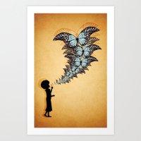 Girl Blowing Butterflies Art Print