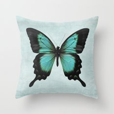 Turquoise Aqua Blue Green Butterfly Throw Pillow