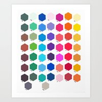 Hexagon Color Chart Art Print